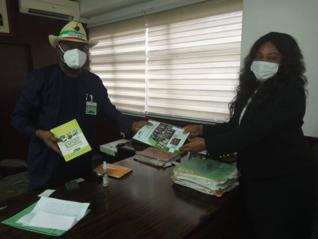 Presentation of Workplan for One Local Government, One Product to the Honourable Commissioner by the Deputy Director - Nigerian Export Promotion Council